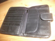 Tula Black Leather Bifold Wallet with Coin Compartment Attached