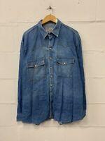 Levi's Denim Shirt Men's Large XL Extra Blue Steel Buttons Vintage
