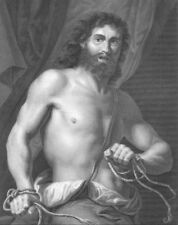 MUSCLES LONG HAIRED SAMSON BREAKS ROPE BINDS, Old 1882 BIBLE Art Print Engraving