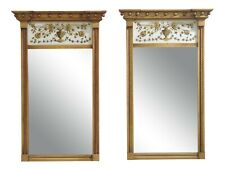F48911Ec: Pair Old Colony Federalist Gold Gilt Eglomise Mirrors