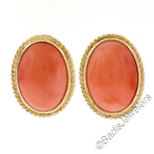 NEW 14K Yellow Gold Oval Cabochon Coral Button Earrings w/ Twisted Wire Frame