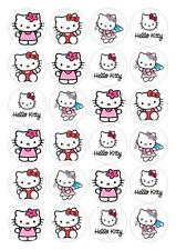 24 Hello Kitty Cupcake Fairy Cake Toppers Edible Decorations Wafer Rice Paper