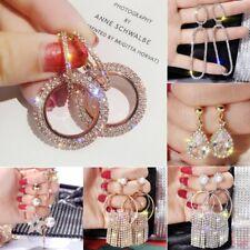 Wedding Silver Rose Gold Crystal Round Dangle Stud Earrings Womens Jewellery
