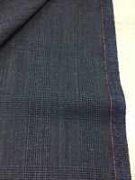3.5 Metres Postman Blue Checked 75% Wool 25% Silk Suit Fabric. By Dormeuil