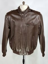 1980's Members Only Dark Brown Leather Classic Racer Jacket Size 40 S / M