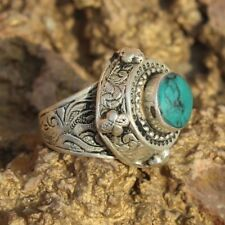 Afghan Etched Turquoise Vintage Gift Kuchi Beautiful Art Work Ring Size 9.5