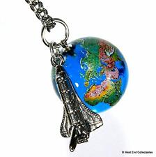 Planet Earth & Space Shuttle Pendant Necklace -22mm Glass Marble World Globe