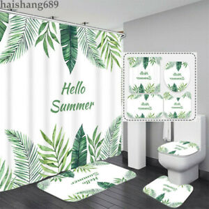 Green Leaf Shower Curtain Set 4PCS Bathroom Rugs Bath Mat Toilet Lid Cover #2