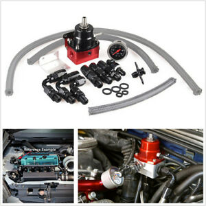 Car Adjustable Fuel Pressure Regulator Kit Aluminum 160PSI Oil Gauge AN6 Fitting