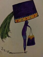 More details for very rare hand painted vintage postcard lady big hat 1911 + stamp