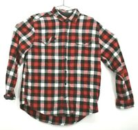 Woolrich Mens L Flannel Shirt Plaid Button Down Red Black Lumberjack Large