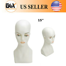 """Gex Female Mannequin Display Head Bust Shoulder Realistic Pvc 15"""" Wig"""