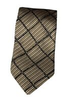CANALI Silk Tie Gold Black Plaid Houndstooth Woven Textured Made in Italy