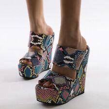 Snakeskin Platform Wedge Sandals Fashion Women's Shoes