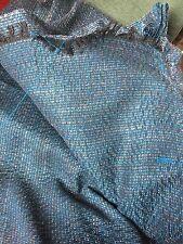 """VINTAGE WOOL BLEND TWEED FABRIC 50""""/ 120 cm  X 7.8 METRES- blue / pink / black"""