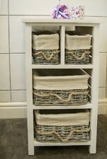 Storage 4 Drawer White Unit Solid Wood Wicker Basket Bathroom Cabinet Assembled