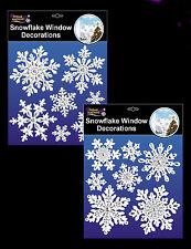2 x confezioni Fiocco Di Neve Finestra Adesivo Decorazioni di Natale/congelato Partito GRATIS P&P