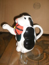 Asia Master, adorable black & white dog w/ red hat in mouth,2 pc. pitcher or tea
