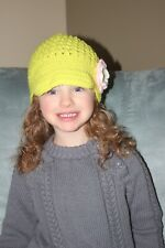HANDMADE CROCHET KNIT HATS FOR BABIES & KIDS-CAP STYLE-LIME GREEN-SIZE 0-6 YRS