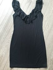 SUPRE LBD Off The Shoulder Black stretch body con ruffle dress Sz S