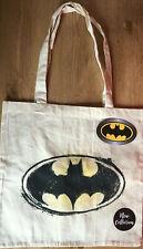 DC Comics Batman Sign Motif Canvas Tote Bag Black + Yellow Shopper NEW with TAGS