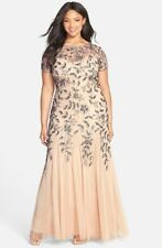 Adrianna Papell Taupe/Pink Womens Floral Beaded Trumpet Gown Plus  14W    $379