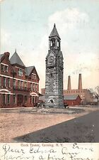 New York postcard Corning, Clock Tower ca 1907