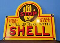 VINTAGE SHELL GASOLINE PORCELAIN METAL GAS & OIL SERVICE STATION PUMP SIGN