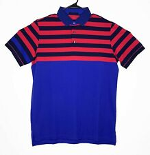 Greyson Croton Golf Short Sleeve Polo Shirt Wolf Mens L Striped Pima Poly Blend