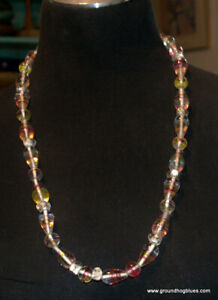 """Flameworked Glass Long Art to Wear Necklace Lovely 28"""""""