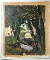 Antique Oil French Impressionism painting Landscape in France