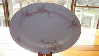 "Noritake 14"" Oval Serving Platter Tray Pink Floral Spray Gold Trim EUC"