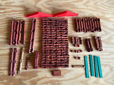 Lot Of Vintage Lincoln Logs Wooden Pieces 150+ Pieces Total Building Toys