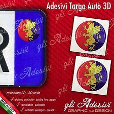 2 Adesivi Stickers bollino 3D Resinato targa Auto Moto GENOA Genova calcio