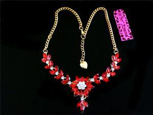 Betsey Johnson Beautiful fashion crystal flower Charm Women's Pendant Necklace