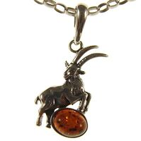 BALTIC AMBER AND STERLING SILVER 925 RAM PENDANT NECKLACE 14 16 18 20 22 24 26 28 30 32 34 1mm ITALIAN SNAKE CHAIN