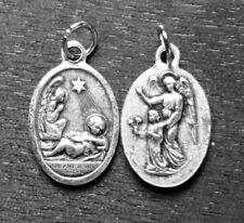 "Infant Jesus  / Guardian Angel Oxidized Medal (7/8"" x5/8"")"