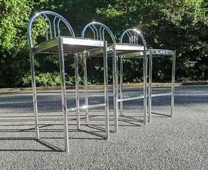 (3) Loewenstein Bar Chrome  Bar Stools - set of three ~ FINAL SALE!!!