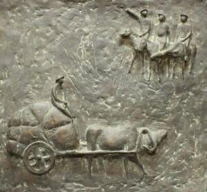 """Jo Jastram """"Begegnung in der Steppe"""" Bronzerelief 1966 Mongolei"""