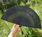 Lady Retro Vintage Hand-Held Black Bamboo Silk Decorative Folding Fan Kimono