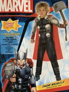 Marvel Child Thor Muscle Costume Avengers god of Thunder Bodysuit Cape Superhero