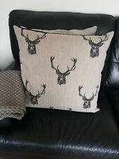 22 inch stag print in grey linen cushion cover. Countryside, Deer.