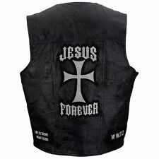 Italian Stone Design Genuine Leather Vest With Christian Patches M - 3x XL