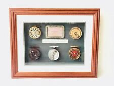 5 Fly Wheels Collection & Vintage Fishing License Wood Frame New
