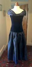 VINTAGE 1980's BLUE VELVET & TAFFETA DRESS BY PATSY SEDDON PHASE 8 DESIGN