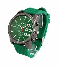 Mens Large Face Watch Unisex Big Green Dial Oversized Relojes Hombres Silicone
