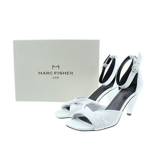 Mark Fisher Women's White Leather Cone Heel Twist Sandals Shoes Ivory 8M