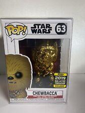 Funko POP Star Wars CHEWBACCA Gold Chrome #63 GALACTIC CON - Free POP Protector