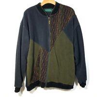 Vintage 90s Tundra Canada mercerized 3d Cardigan Sweater Coogi L cosby black