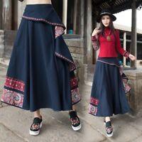 Lady Ethnic Linen Cotton Skirt Hippie Retro Retro Casual Long Maxi Floral Navy